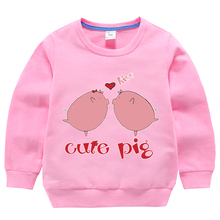 Girls Hoodies Clothes Sweatshirt Toddler Kids Baby Boys Tops Casual Cotton Autumn Winter For 2-8 Years Print Pigs Cartoon цены