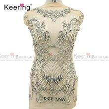 On line di un personaggio famoso argento tessuto di strass corsetto di applique per il vestito da sera pannello WDP 266