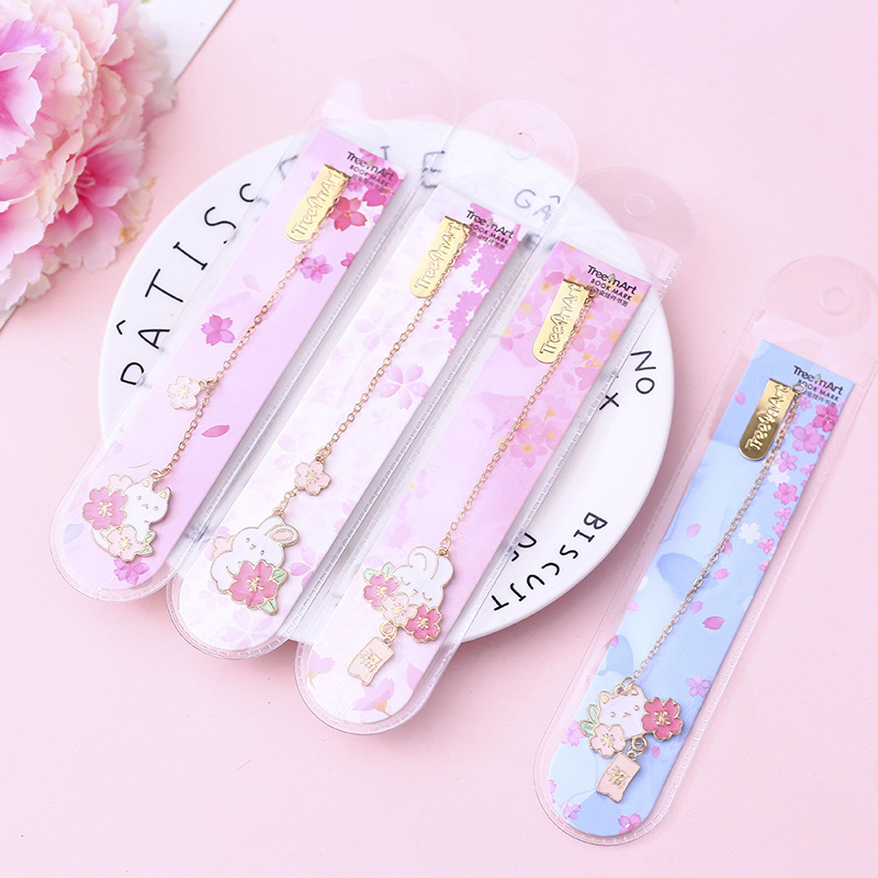 Cherry Sakura With Rabbit Pendant Bookmark Stationery School Office Supply Escolar Papelaria