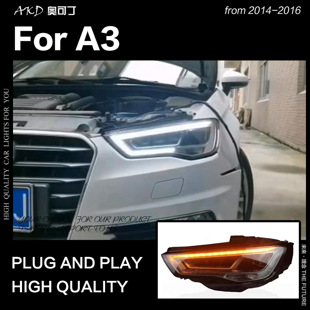 AKD Car Styling Head Lamp For Audi A3 Headlights 2014-2016 S3 LED Headlight DRL Hid Head Lamp Bi Xenon Beam Accessories