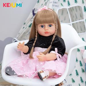 55 CM Reborn Doll Toy For Girl 22 inch Full Silicone Vinyl Waterproof Newborn Doll Beautiful Toy Realistic Reborn Christmas Gift
