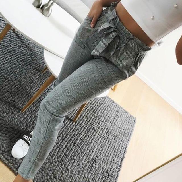 Women Fashion Plaid Pleated High Waist Skinny Pencil Pants Trousers with Sash Sporting Black Casual Streetwear 4