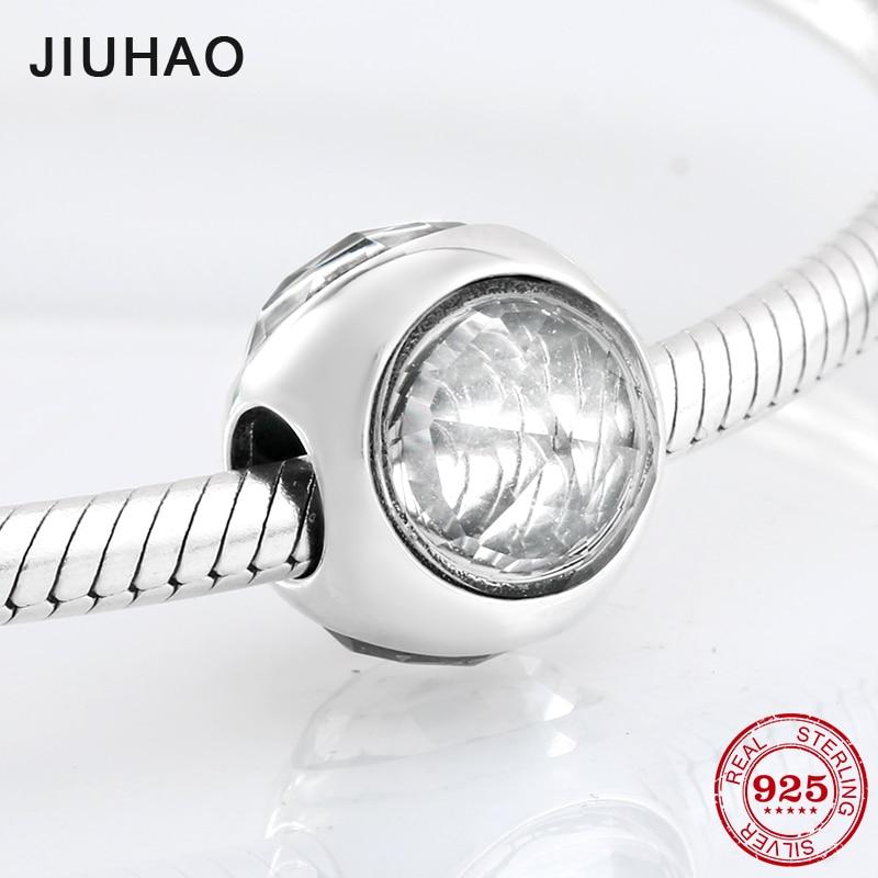 New 925 Sterling Silver Three Sides Round Shape Like Crystal Zircon Beads Fit Original Pandora Charm Bracelet Jewelry Making