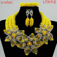 Nigerian Beads Fashion Jewelry Set Wedding Anniversary Bride Gift Necklace Earrings Set Free Shipping LT317 1