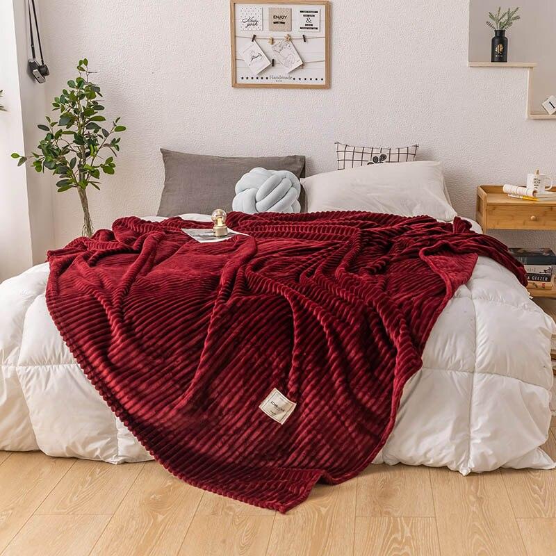 Супермягкое однотонное стеганое фланелевое одеяло s для кровати, полосатая норковая накидка на диван, покрывало, зимнее теплое одеяло, плед, одеяло|Одеяла| | АлиЭкспресс