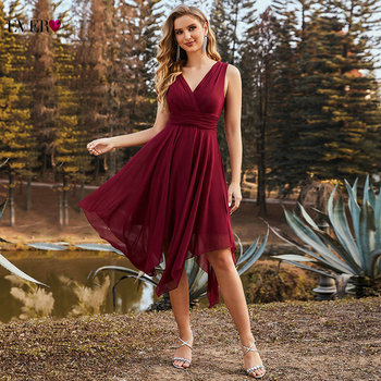 Burgundy Bridesmaid Dresses 2021 Ever Pretty Chiffon A Line V Neck Sleeveless Elegant Wedding Party Dress For Women ES03142BD 1