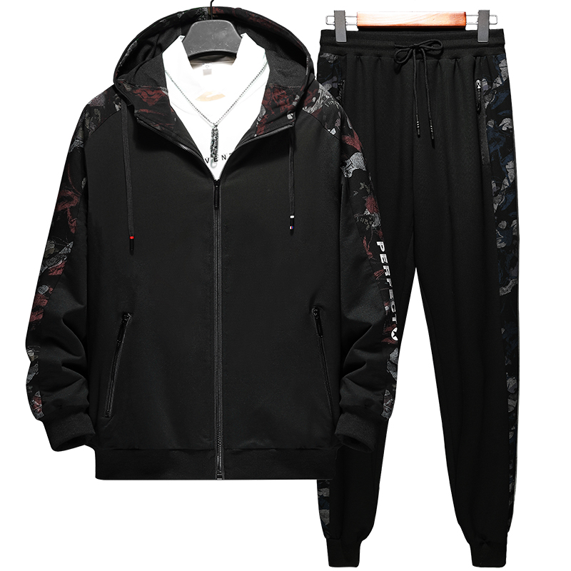 High Quality 2020 Spring Fashion Hooded Tracksuit Men Sportswear Sweat Suits  2 Piece Set Jacket+Pants Track Suit 7XL 8XL 9XL
