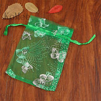 100pcs/lot Dark Green Organza Bag 13x18cm Wedding Favor Jewelry Packaging Bags Drawstring Gift Bag Cute Butterfly Organza Pouch