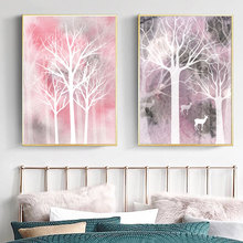 Forest Trees Landscape Posters And Prints Animal Deer Nordic Poster Abstract Canvas Print Watercolor Wall Pictures For Bedroom недорого