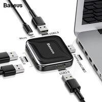 pc עם Baseus HUB USB 2.0 Multi 4 ב 1 USB Port Hab Expander מפצל USB HUB מתאם עם מיקרו עבור מחשב נייד PC מחשב אביזרים (1)