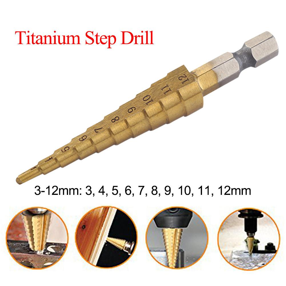 HSS Step Drill Bit Set Titanium Coated 3-12mm Cone Hole Cutter 1/4'' Hex Shank Core Drill Bits Woodworking Tool For Metal Wood
