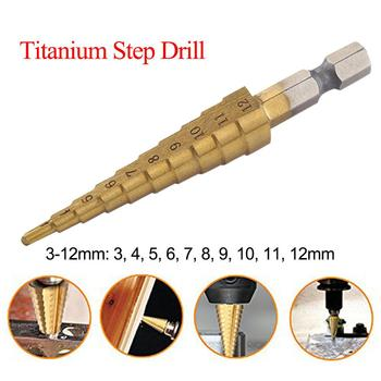 Hss passo broca conjunto de titânio revestido 3-12mm cone buraco cortador 1/4 hex hex hex haste núcleo brocas carpintaria ferramenta para madeira de metal