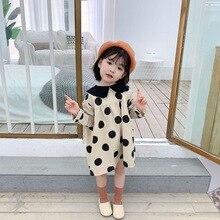 New autumn Korean style sweet full dot print turn down collar long-sleeved dress for girls