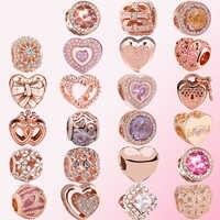 2019 100% 925 Sterling Silber Klassische Authentic Rose Gold Liebe Charme Perlen Damen Charm Fashion DIY Schmuck Kostenloser Versand