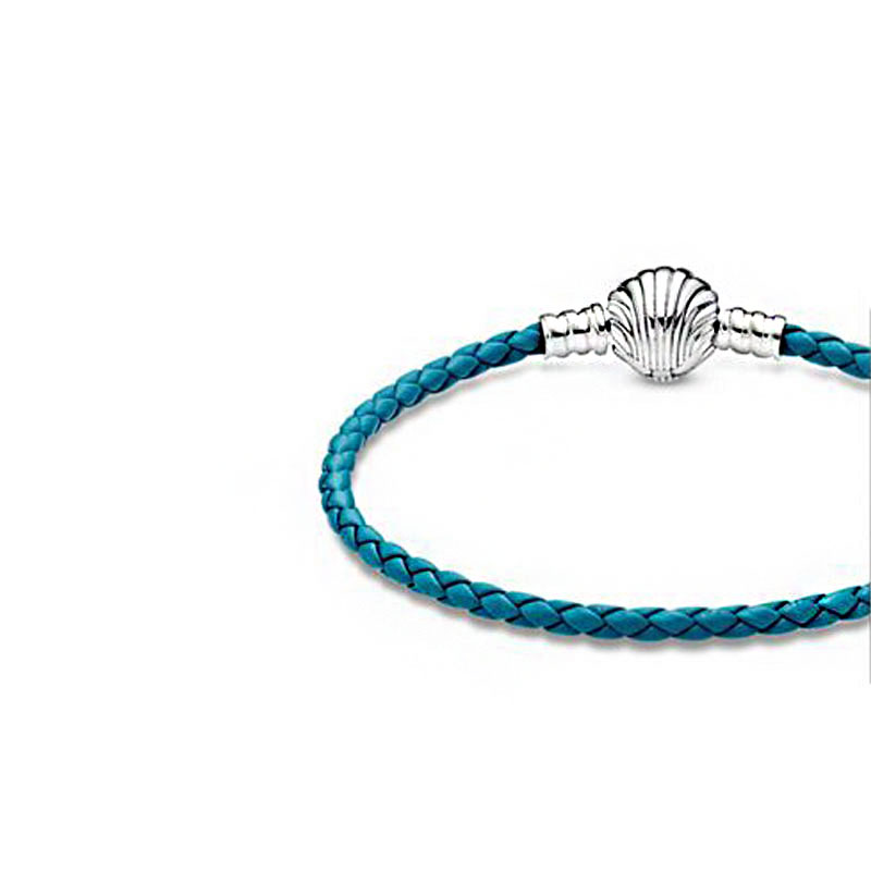 2020 High Quality 925 Sterling Silver Bracelet Seashell Clasp Turquoise Braided Leather Bracelet Women Jewelry