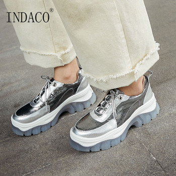 Comfortable Casual Shoes for Spring Autumn Silver Leather Sneakers Women 6cm