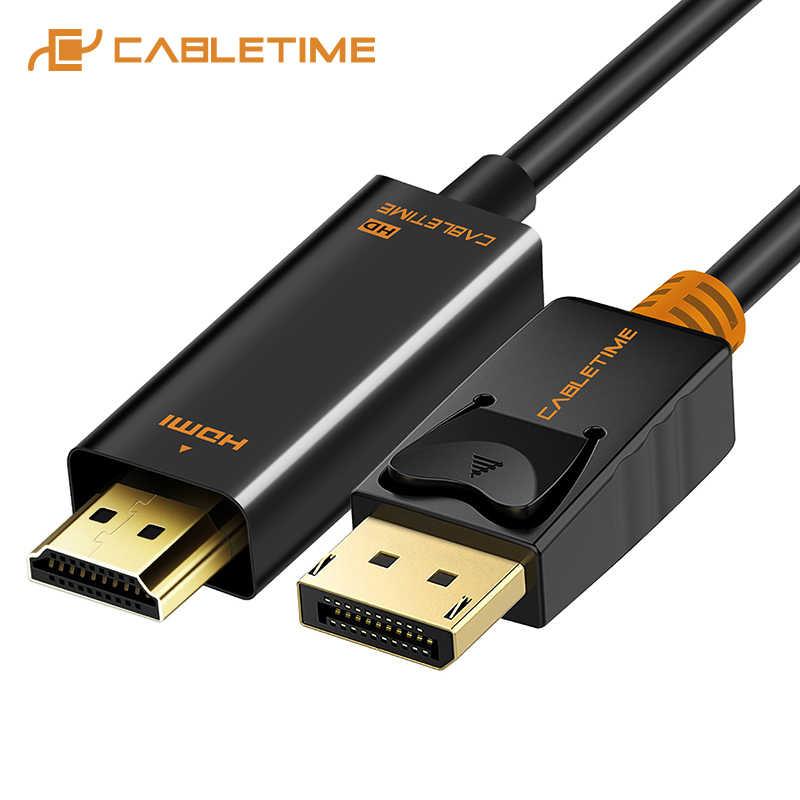 CABLETIME ديسبلايبورت كابل وصلة بينية مُتعددة الوسائط وعالية الوضوح 4K 60hz 1080P DP إلى HDMI M/M محول أسود DP 1.2 ل HDTV العارض كمبيوتر محمول C072