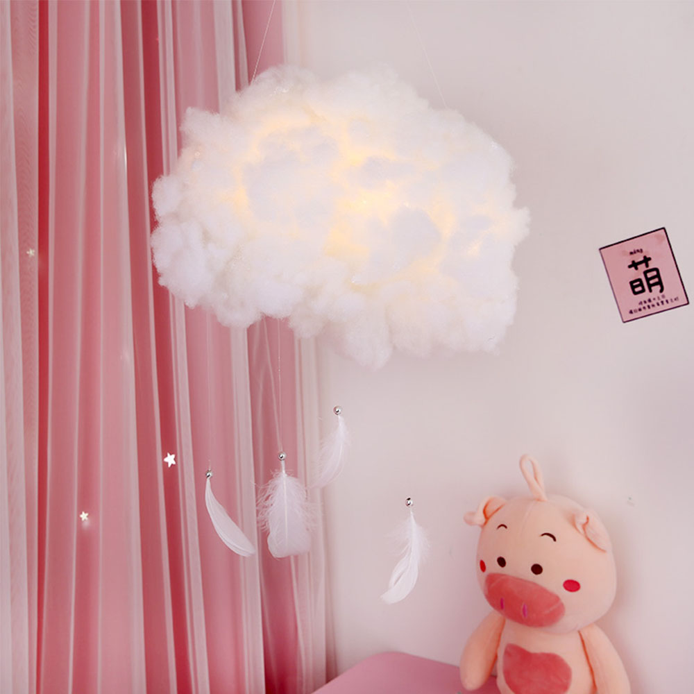 LED Night Light Cute Cotton Cloud Shape Lamp DIY Handmade Material Package Wall Hanging Indoor Lighting Home Bedroom Decor