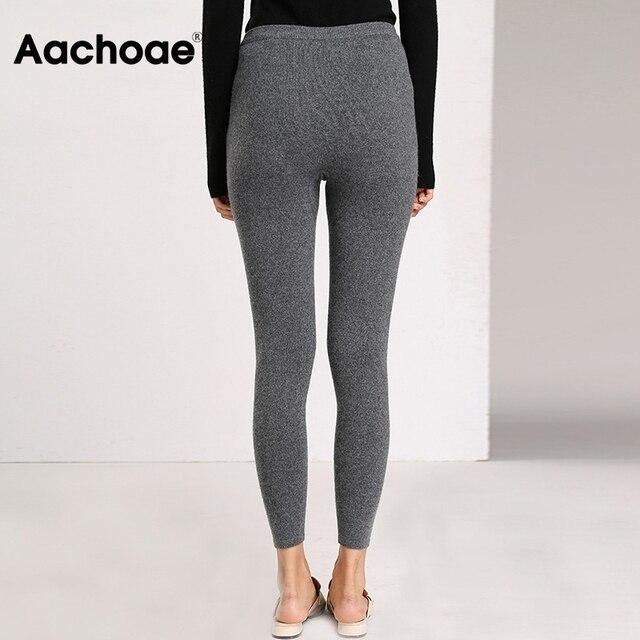 Aachoae Autumn Winter Women Leggings 2020 Solid Casual Slim Pants Trousers High Waist Sportwear Ladies Ankle Length Leggings 5
