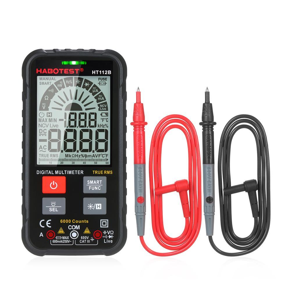 Habertest ht112b geração 600v inteligente multímetro digital diy ohm capacitância hz ac dc ncv avançado multimetro tester