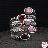 Natural Gemstone Wide Rings For Women Red Garnet Stone Real Pure S925 Sterling Silver Jewelry Marcasite Multi Layer Ring gift