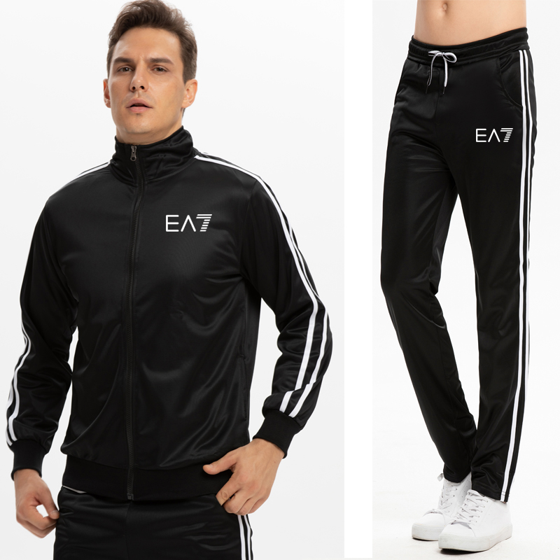 2019 New  Brand Ea7 Tracksuit Men T-shirt Suit 2 Piece Casual Short Sleeve O-neck Fashion Printed Cotton T And Shorts Men XXL