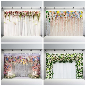 new arrival 3m 5m tye die muslin wedding backdrop f5745 photography backdrops for family kids pets studio custom service Yeele Wedding White Curtain Blossom Floral Garland Wall Photography Backgrounds Custom Photographic Backdrops For Photo Studio