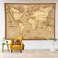 Vintage World Map Wall Tapestry Historical Art Print Map Tapestry Hanging for Bedroom Decor Living Room Dorm Decor Wall Tapestry wall hanging art decor corroded wall print tapestry
