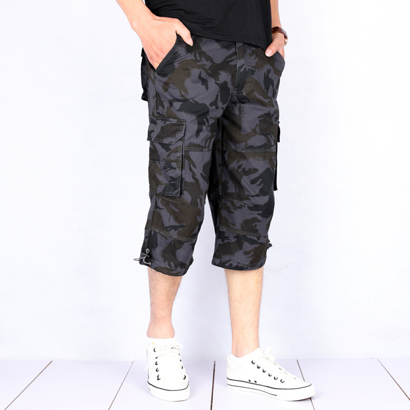 Summer Men's Baggy Multi Pocket Tactical Cargo Pants Male Camouflage Cropped Trousers Breeches Beach Pants Plus Size 5XL