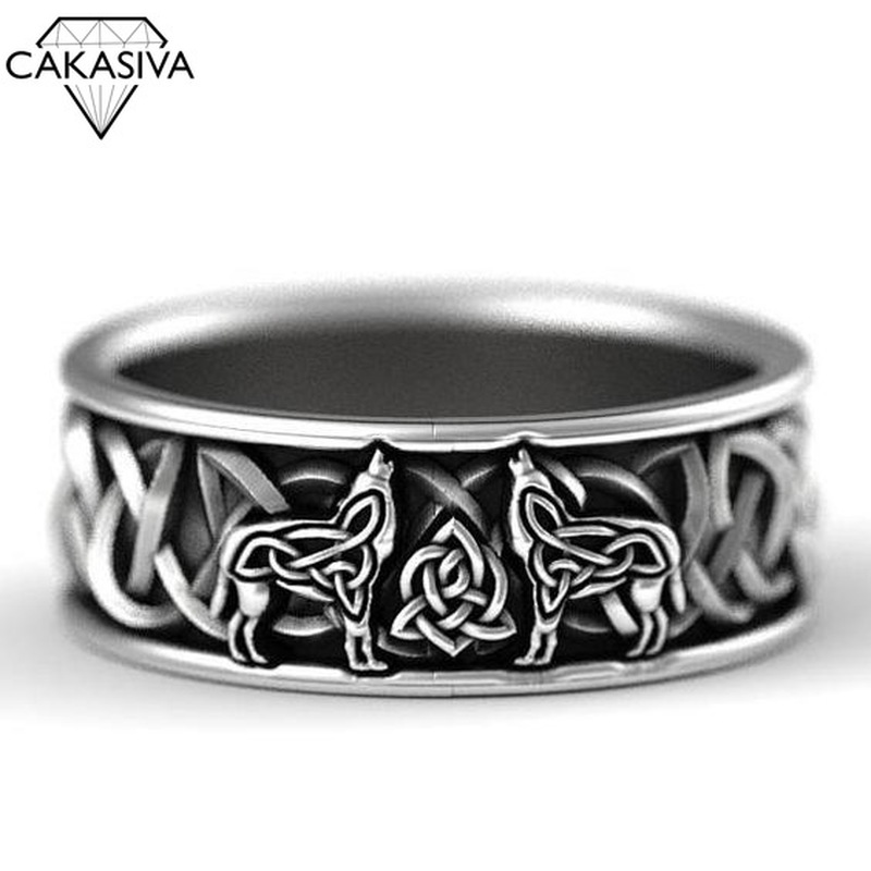 925 Silver Northern European Mythology Wolf Finriel Defense Totem Amulet Hip-hop  Wolf Ring Man Vintage Jewelry