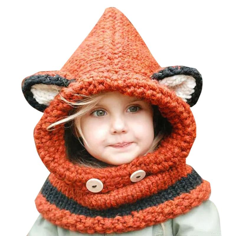 New Design Cat Fox Ear Winter Windproof Winter Kids Fox Ears Handmade Beanie Hat Scarf Sets For 1~10 Year Old Children Scarves