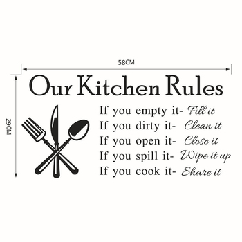 Kitchen Wall Stickers Vinyl Wall Decals for Kitchen English Quote Home Decor Art Decorative Stickers PVC Dining Room For Bar PVC 33