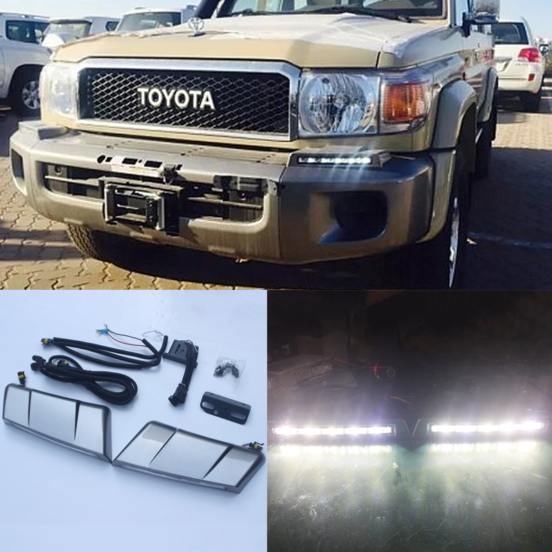 2 pièces LED avant pare-chocs lampe feux de jour pour Toyota Land Cruiser 76 LC70 LC71 LC76 LC77 LC79 accessoires