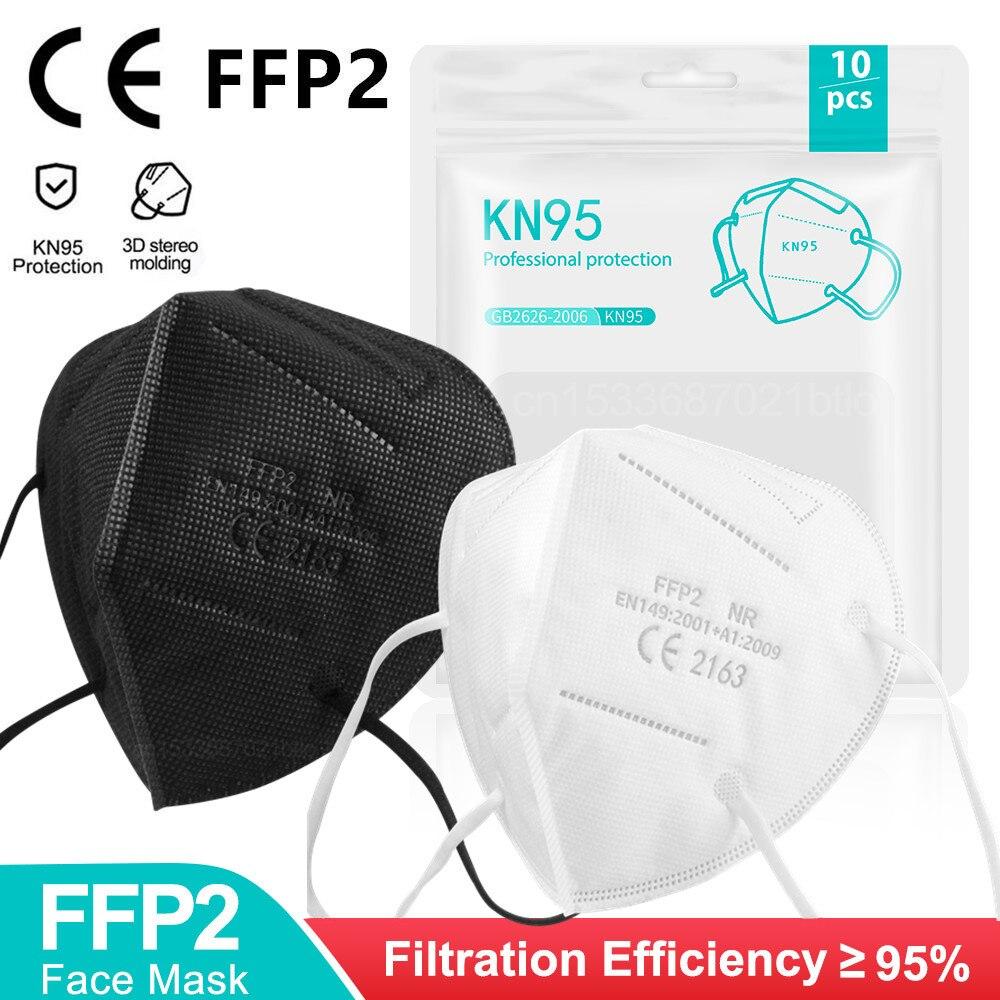 5-200 шт. Mascarillas FPP2 черная маска для лица FP2 одобренный 5 слоев FFP2 маска Noir FFPP2 респиратор FFP2mask Mascherine KN95 для взрослых