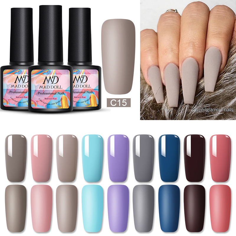 MAD DOLL 8ml UV Gel Nail Polish Matte Varnish  Pink Blue Soak Off Long Lasting Nail Art DIY Beauty Designs Varnish