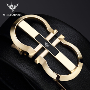Image 4 - WilliamPolo Genuine Leather Belt Men Cowskin Strap Luxury Belts For Male Alloy Automatic Buckle Fashion Belt Casual Gold PL18335
