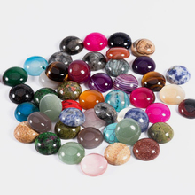 DC 10pcs/lot Natural Stone Cabochon 4/6/8/10 / 12mm 25 Patterns for DIY Ring Earring Bracelet Necklace Making  Jewelry Finding