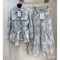 Cosmicchic 2020 Women 2 Piece Set Runway Design Flower Print Denim Belt Jacket Long Wide Leg Pants Female Outfit Suit