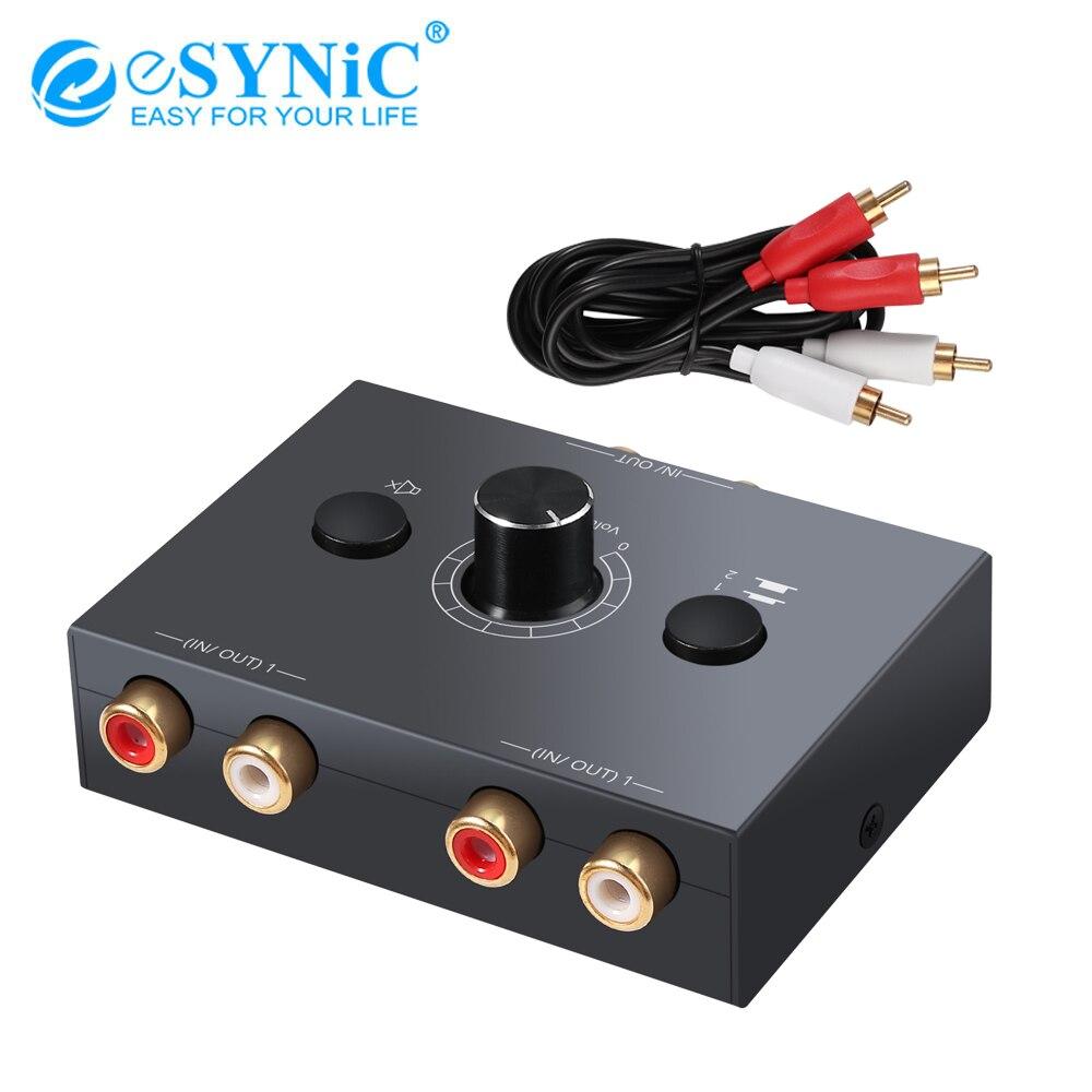 ESYNiC 2X1/1X2 L / R стерео аудио Двунаправленный переключатель портативный RCA стерео аудио переключатель аудио сплиттер с кнопкой отключения звук...