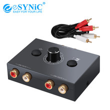 eSYNiC 2 X 1/1 X 2 L / R Stereo Audio Bi-Directional Switcher Portable RCA Stereo Audio Switch Audio Splitter With Mute Button