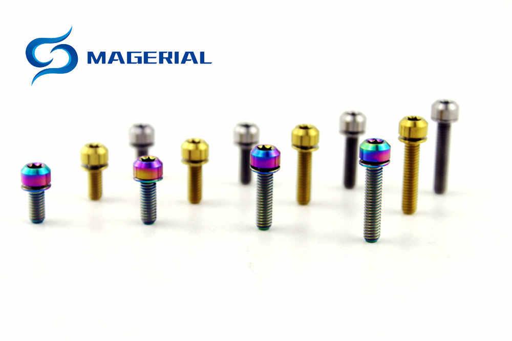 Titanium//Ti Bolt Screws M5x18mm Taper Head Conical Head Bolts 5 Colors Pack of 6