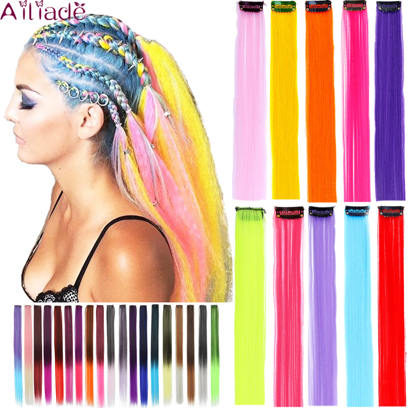 AILIADE Highlight Straight Heat Resistant Hair Extensions Clip In Highlight Rainbow Hair Streak Synthetic Hair Strands Hairpiece