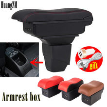 Compartimento central giratorio para coche, caja de almacenamiento para Peugeot 206 207, reposabrazos, Cenicero de carga USB
