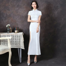 Short Sleeve Women Cheongsam Elegant Long Qipao Chinese Style Summer Party Dress Classic Mandarin Collar Gown Vestido M-4XL(China)