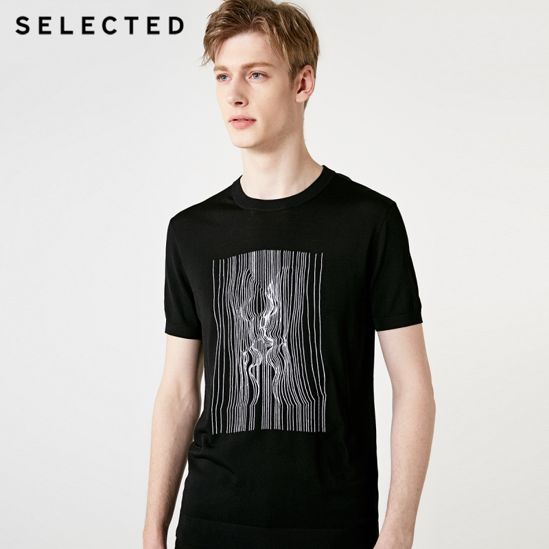 SELECTED Men's Black Embroidered Threads Short-sleeved T-shirt S|419201536