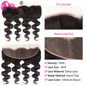 Image 4 - Beauty Forever Brazilian Body wave Hair Bundles With Lace Frontal 13*4 High Ratio Lace Frontal Remy Human Hair