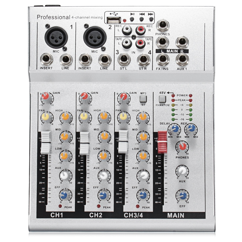 4 Channels Live Dj Audio Mixer Sound Mixing Console With Usb Mp3 Jack For Karaoke Ktv Music Show Party With Bluetooth Eu Plug