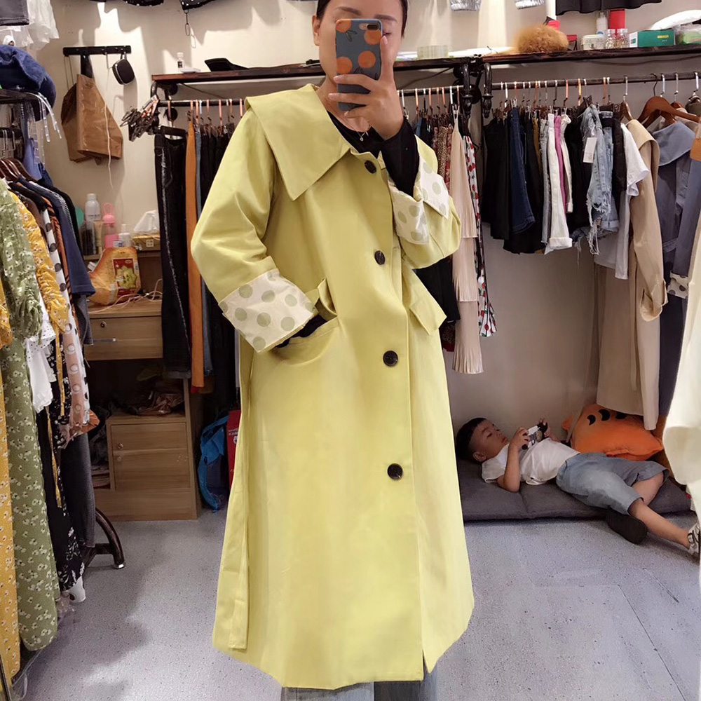 Fashion Autumn 2019 Solid   Trench   Coat For Women Stylish Big Turn Down Collar Good Quality Nine Sleeve Green   Trench   Female Coat