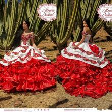 Volants fleurs Charro Quinceanera robes épaules nues jupe bouffante dentelle broderie princesse Sweety 16s filles robes de mascarade