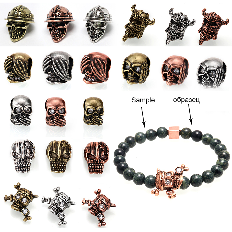 52 Pcs Mixed Color Carved Skull Loose Spacer Beads For Jewelry Making Craft